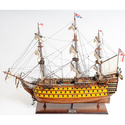 HMS Victory - Painted Wooden Model Sailing Ship, 37